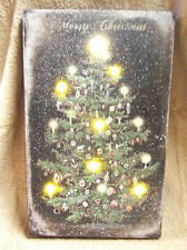 Vintage LOOK Christmas Tree GLITTER Winter Lighted Canvas Wall Decor Sign