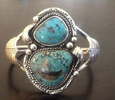 GORGEOUS TALL VINTAGE NAVAJO SPIDERWEB TURQUOISE & STERLING SILVER CUFF BRACELET