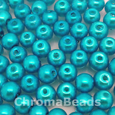 6mm Glass faux Pearls - Caribbean Blue - 100 round beads, jewelry making