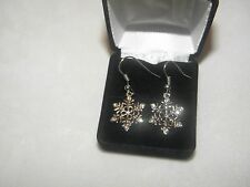 SNOWFLAKE DANGLE EARRINGS AUSTRIAN CRYSTAL CHRISTMAS GIFT WEDDING BRIDE SILVER