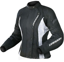 L Large Ladies Dririder Vivid Jacket Dri Rider Womens Black White Motorbike