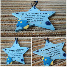 Personalised Wooden Hanging STAR 15cm New Baby Christening Gift Boy Girl