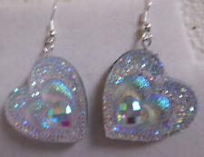 UNIQUE HEART SHAPED WHITE EARRINGS BLING VALENTINES DAY nora winn