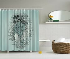 Giant Fish Digital Print Shower Curtain Nautical Under Sea Decor Graphic Curtain