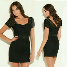 New Guess Short-Sleeve Black Allover Lace Belted Dress