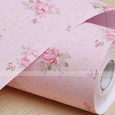 Wallpaper Mural Roll Living Room Bedroom PVC Wall Paper Sticker Pink Rose 10M