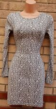 TOPSHOP GREY WHITE TRIBAL AZTEC FESTIVAL LONG SLEEVE TUBE BODYCON PENCIL DRESS 8