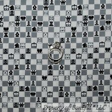 BonEful Fabric FQ Cotton Quilt Gray White Black B&W Chess Check Casino Game King