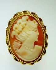 Vintage Hand Carved Shell Cameo Ring 14k Gold 5.6 Grams Size 5 1/4