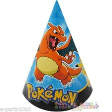 POKEMON Pikachu & Friends CONE HATS (8) ~ Birthday Party Supplies Favors Paper