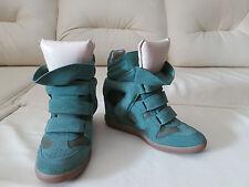 Isabel Marant Bekett Wedge Sneakers in Green Blue Suede Calfskin 38 8 7