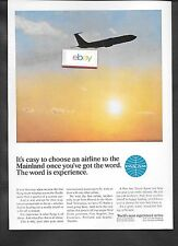 PAN AM 707 AT SUNRISE EASY TO CHOOSE AIRLINE WITH WORD EXPERIENCE 1960'S AD