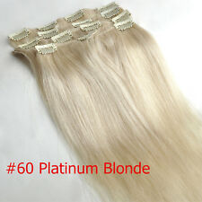 "Clip In Remy 100% Real Human Hair Extensions Full Head 70g 14"" Platinum Blonde"