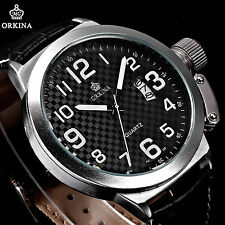 52MM Black Oversized Big Dial Date Army Steel Men's Military Sport Leather Watch