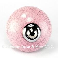 4 Pink Crackle Ceramic Knobs Cabinet Drawer Pulls Furniture Hardware #C11Rr-Ch