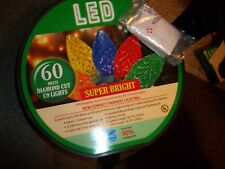 CHRISTMAS STRING LIGHTS 60 LED C-9 DIAMOND CUT LIGHTS MULTI-COLORED SUPER BRIGHT