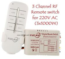 E72 3 Way Channel RF Wireless Remote Control Switch Transmitter Receiver 220V AC