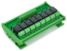 DIN Rail Mount 8 SPDT Power Relay Interface Module, OMRON 10A Relay, 5V Coil.