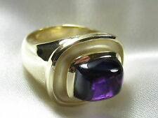 Amethyst Ring 14K Yellow Gold Fashion Ring Cabochon Cut Contemporary Size 6.25