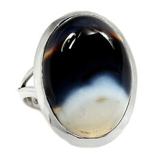 Black Botswana Agate 925 Sterling Silver Ring Jewelry s.10 RR9318