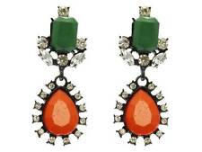 Designer Inspired Orange And Green Lucite Stud Clear Crystal Dangle Post Earring