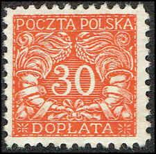 Scott # J18 - 1919 - ' Numerals of value ', For Northern Poland