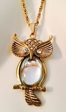Dazzling Vintage Gold Tone Rhinestone Jelly Belly Owl Pendant Necklace WOW!!!