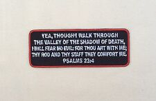 Psalms 23-4 Patch Red Embroidered Bible Jesus Verse MC Christian Iron On