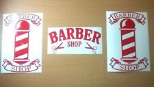 "red 9"" barber pole shop kit 3 window signs barbers poles vinyl sticker wall art"
