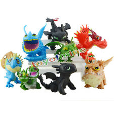 8 pcs How to Train Your Dragon Toothless Mini Figure set Collection Loose Pack
