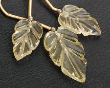 SUPERB Natural Lemon Quartz Carved Leaf Briolette Gemstone Beads SET