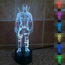 Creative 3D Led Desk Table Light Lamp Cartoon Deadpool For Boys As Gift