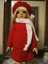 HANDMADE RED KNIT DRESS, HAT & SCARF MSD MODELED BY KAYE WIGGS TALYSSA
