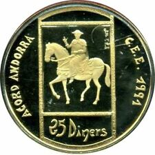 ANDORRA 25 DINERS ORO ECU 1993 OBISPO PERE A CABALLO C. EUROPEA GOLD PROOF