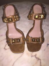 Prada Brown Leather Studded Sandals Sz 38 Italy