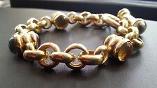 18K YELLOW GOLD LINK BRACELET WITH MULTI-COLOR STONES NOT FOR SCRAP