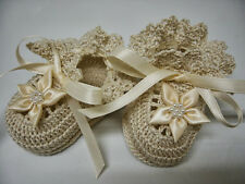 Crochet Baby Girl Booties Ecru with Cream Flowers