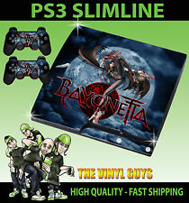 PLAYSTATION PS3 SLIM Adesivo BAYONETTA WITCH SKIN e 2 pad Pelle