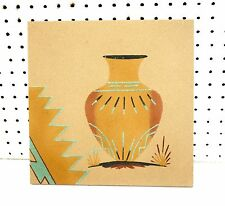 """12""""X12""""SIGNED NAVAJO VASE DESIGN NATIVE AMERICAN INDIAN SAND PAINTING BY F.BEGAY"""