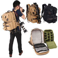 Professional DSLR Camera Lens Canvas Backpack Large Padded Bag For Nikon Canon