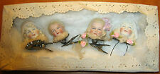 Lot 4 antique doll head ornaments Christmas tree decoration  -Germany