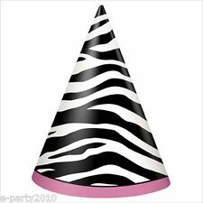(8) ZEBRA STRIPES Pink and Black CONE HATS ~ Birthday Party Supplies Favors