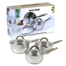Salter Collection Stainless Steel 3 Piece Saucepan Set Pots & Pans Glass Lids