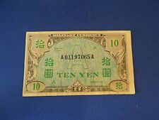 "Vintage 1946 10 ""A"" Yen Note United States Military Currency Used in Japan Korea"