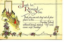 Church Attend Sunday School-Deco Arts-Crafts Drawing Religious Vintage Postcard