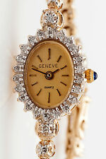 Estate Geneve $6000 2ct Diamond 14k Yellow Gold Ladies Tennis Bracelet Watch