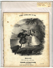 Rare Antique Original VTG c 1850 Come Gang Awa Wi Me Piano Sheet Music Print