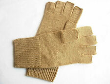100% Cashmere fingerless knit gloves half finger camel