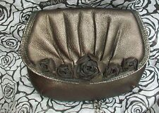NWT BRIGHTON Velvet Rose Pouch Dark Pewter Buttery Soft Leather Leather Roses