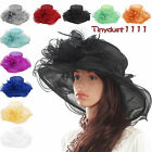 Women Graceful Wide Brim Kentucky Derby Hats Church Dress Party Occasion Sun Cap